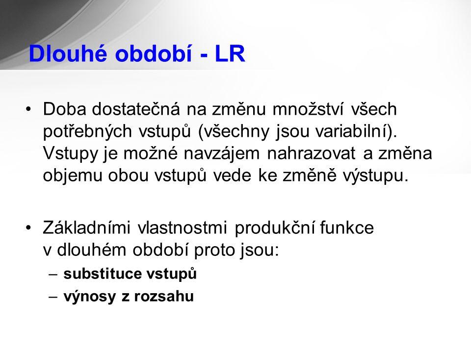 Dlouhé období - LR Doba dostatečná na změnu množství všech potřebných vstupů (všechny jsou variabilní).
