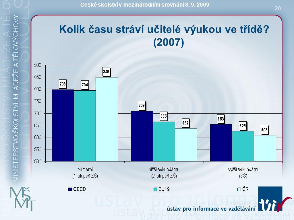 České školství v mezinárodním srovnání 8. 9. 2009 20 Kolik času stráví učitelé výukou ve třídě.