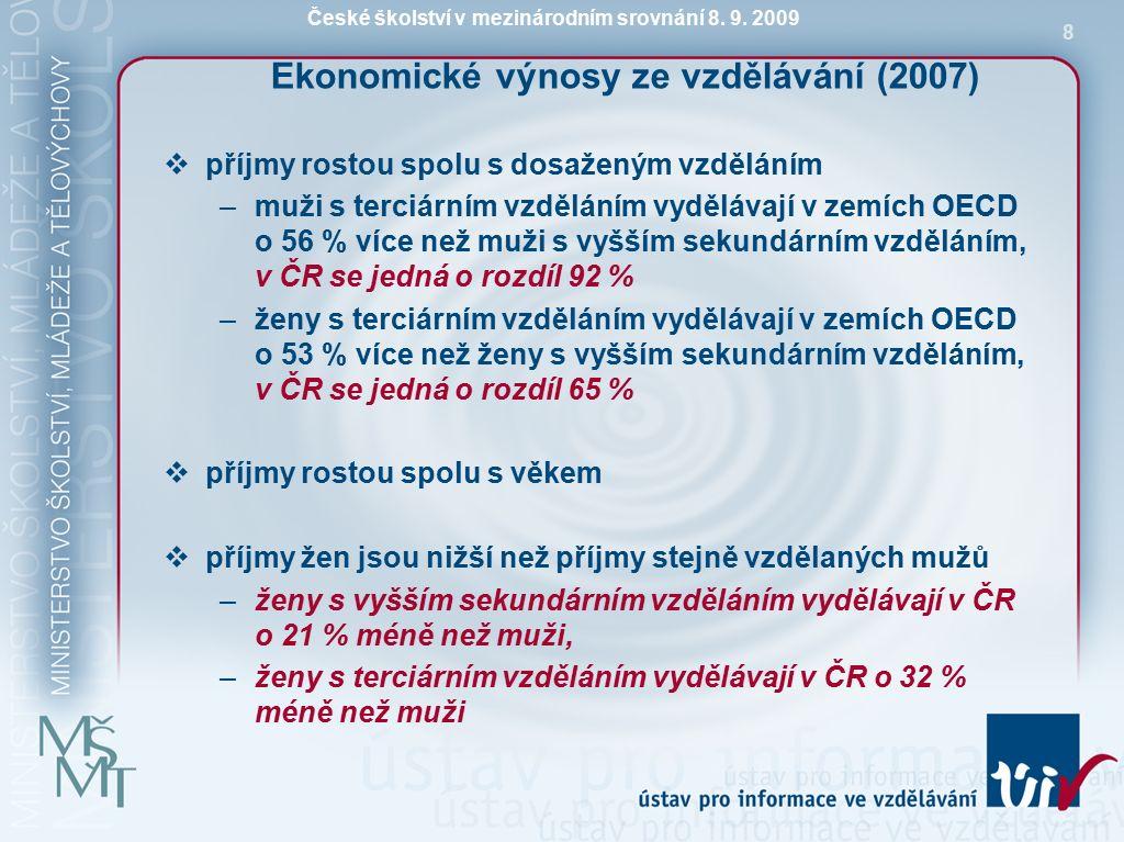 České školství v mezinárodním srovnání 8.9. 2009 9 Co ovlivňuje ochotu investovat do vzdělávání.
