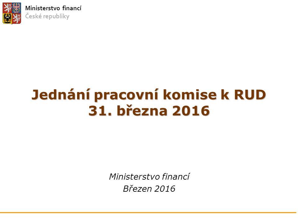 Ministerstvo financí České republiky Jednání pracovní komise k RUD 31. března 2016 Ministerstvo financí Březen 2016