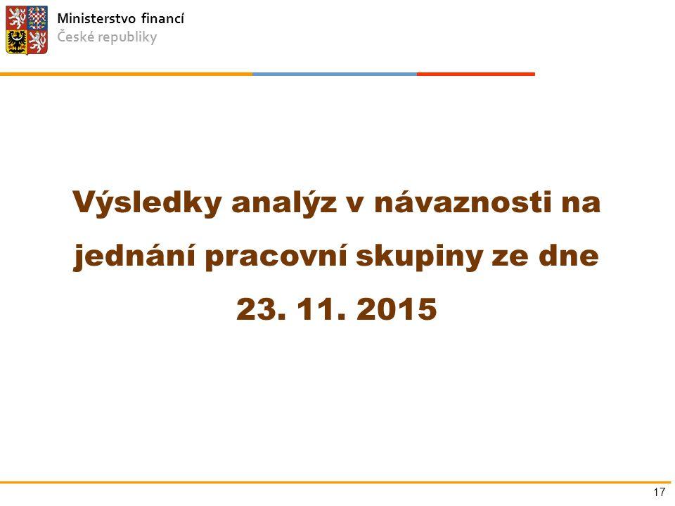 Ministerstvo financí České republiky Výsledky analýz v návaznosti na jednání pracovní skupiny ze dne 23. 11. 2015 17