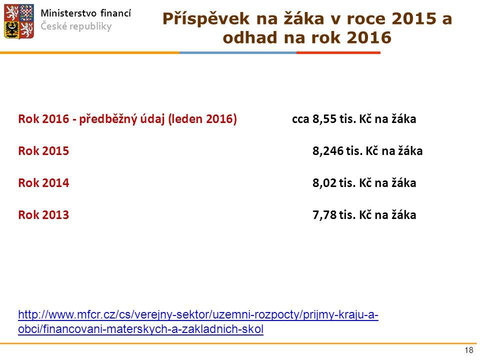 Ministerstvo financí České republiky Příspěvek na žáka v roce 2015 a odhad na rok 2016 Rok 2016 - předběžný údaj (leden 2016)cca 8,55 tis. Kč na žáka