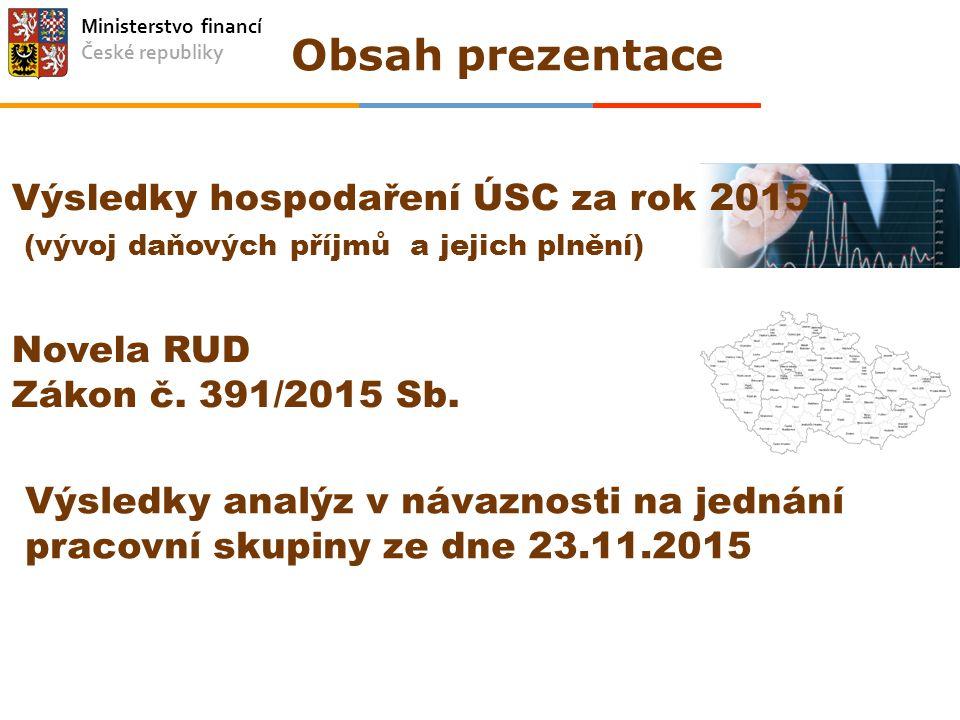 Ministerstvo financí České republiky Obsah prezentace Výsledky hospodaření ÚSC za rok 2015 (vývoj daňových příjmů a jejich plnění) Novela RUD Zákon č.