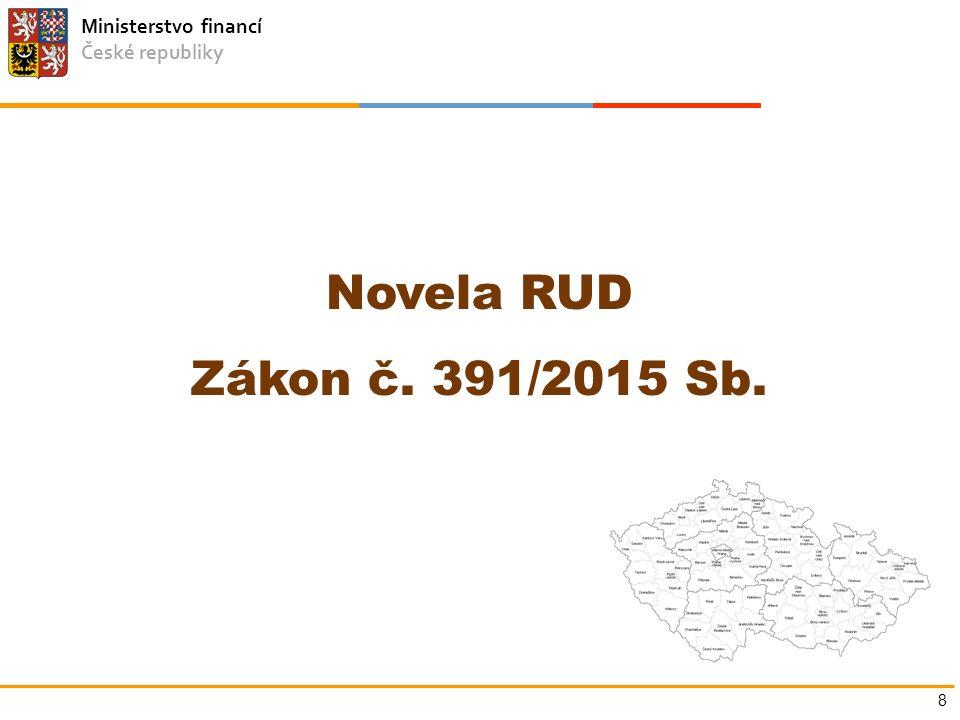 Ministerstvo financí České republiky Novela RUD Zákon č. 391/2015 Sb. 8