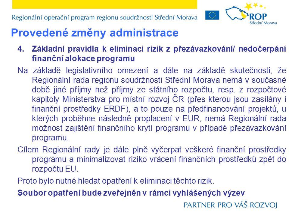 4.Základní pravidla k eliminaci rizik z přezávazkování/ nedočerpání finanční alokace programu Na základě legislativního omezení a dále na základě skutečnosti, že Regionální rada regionu soudržnosti Střední Morava nemá v současné době jiné příjmy než příjmy ze státního rozpočtu, resp.