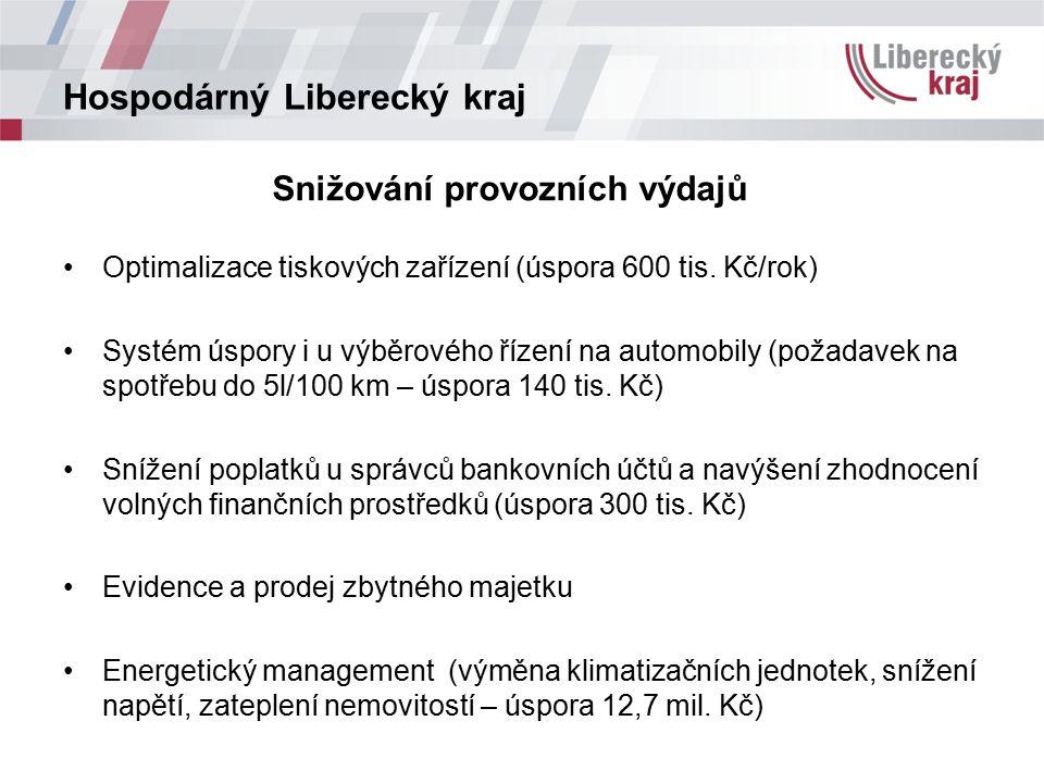 Hospodárný Liberecký kraj Snižování provozních výdajů Optimalizace tiskových zařízení (úspora 600 tis.