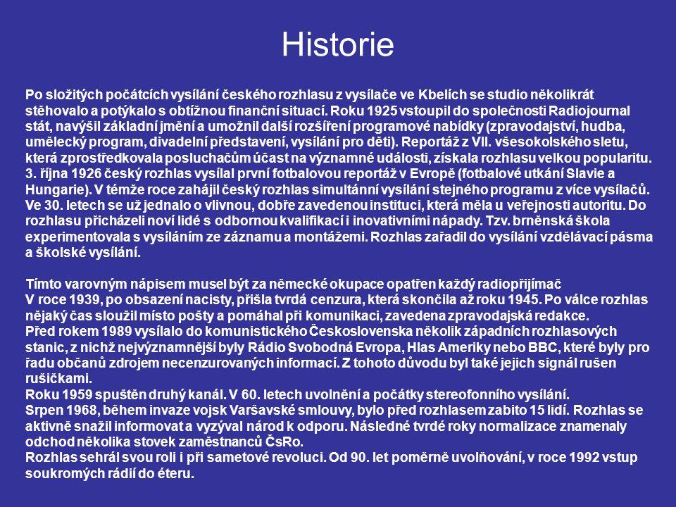 Historie Po složitých počátcích vysílání českého rozhlasu z vysílače ve Kbelích se studio několikrát stěhovalo a potýkalo s obtížnou finanční situací.