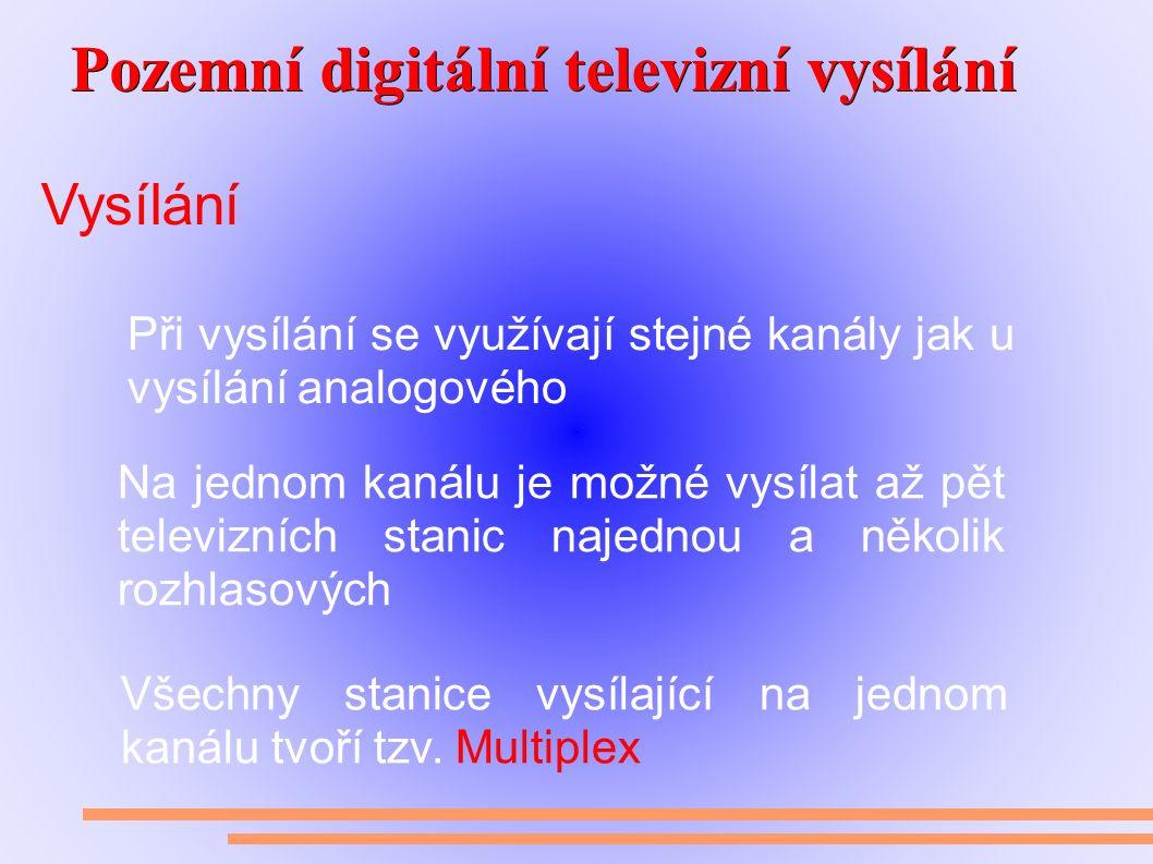 Pozemní digitální televizní vysílání Pozemní digitální televizní vysílání Vysílání Při vysílání se využívají stejné kanály jak u vysílání analogového Na jednom kanálu je možné vysílat až pět televizních stanic najednou a několik rozhlasových Všechny stanice vysílající na jednom kanálu tvoří tzv.