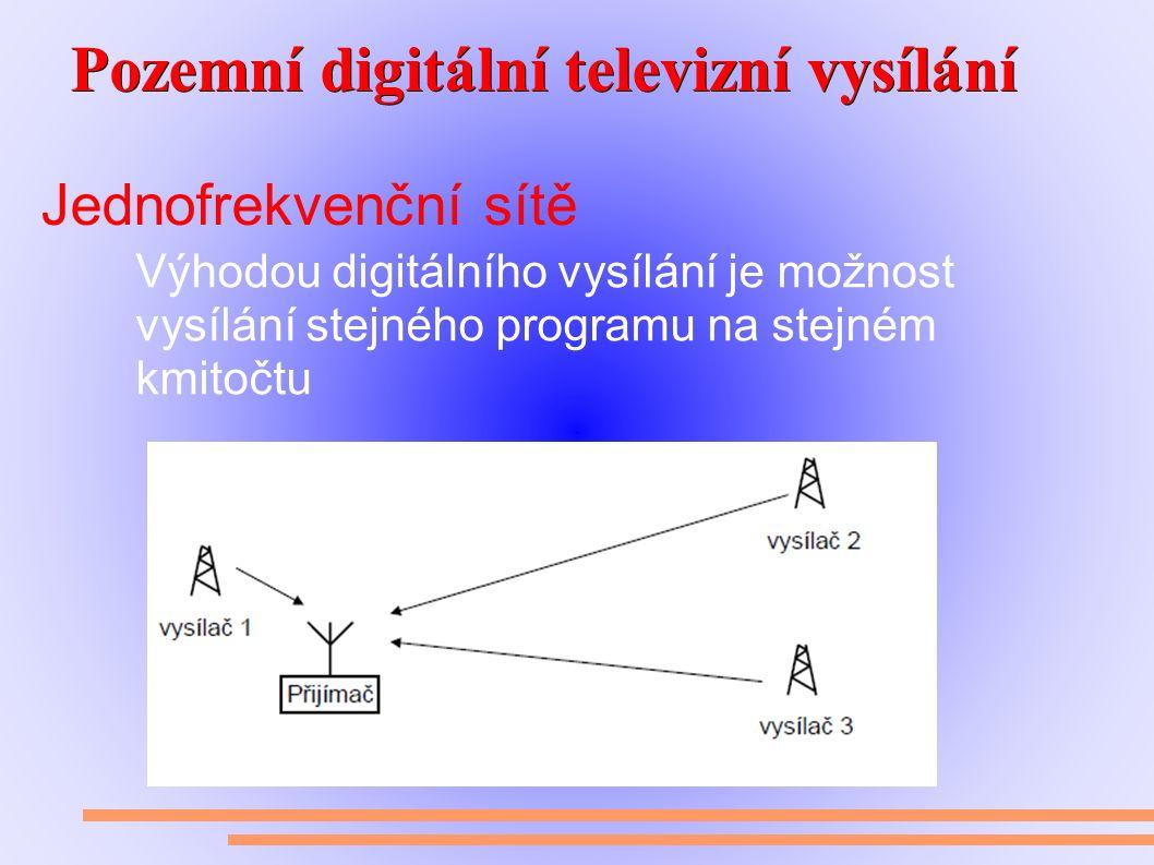 Pozemní digitální televizní vysílání Pozemní digitální televizní vysílání Jednofrekvenční sítě Výhodou digitálního vysílání je možnost vysílání stejného programu na stejném kmitočtu