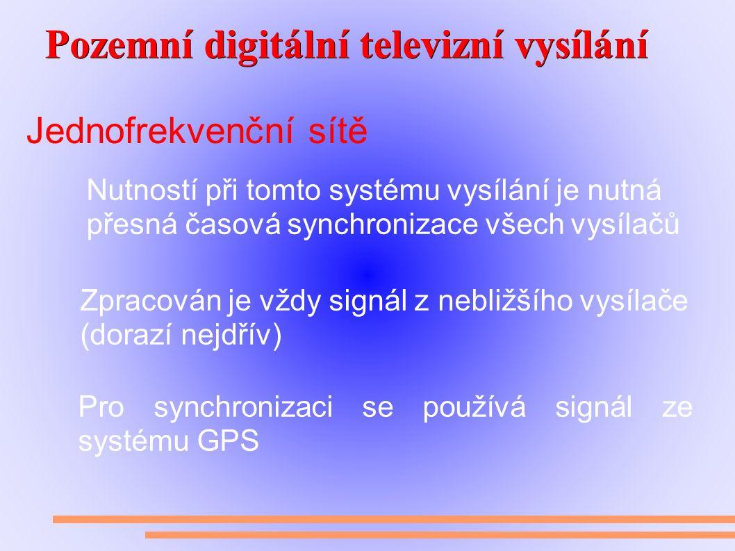 Pozemní digitální televizní vysílání Pozemní digitální televizní vysílání Jednofrekvenční sítě Nutností při tomto systému vysílání je nutná přesná časová synchronizace všech vysílačů Zpracován je vždy signál z nebližšího vysílače (dorazí nejdřív) Pro synchronizaci se používá signál ze systému GPS