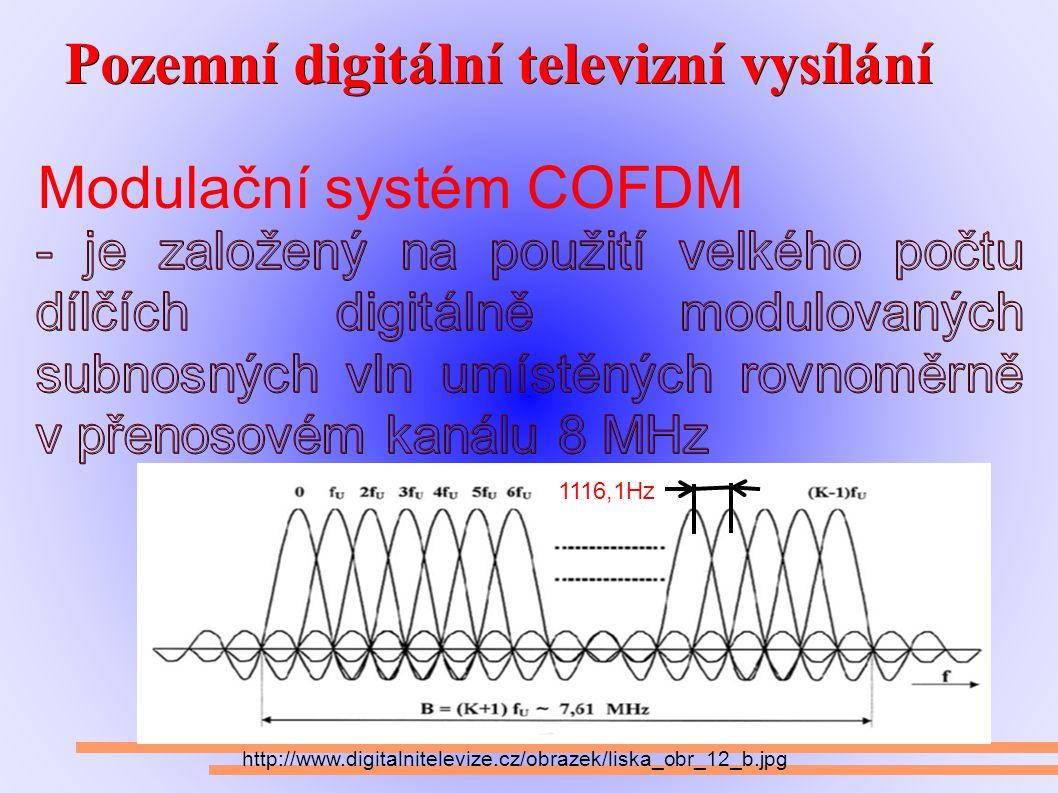Pozemní digitální televizní vysílání Pozemní digitální televizní vysílání Modulační systém COFDM http://www.digitalnitelevize.cz/obrazek/liska_obr_12_b.jpg 1116,1Hz