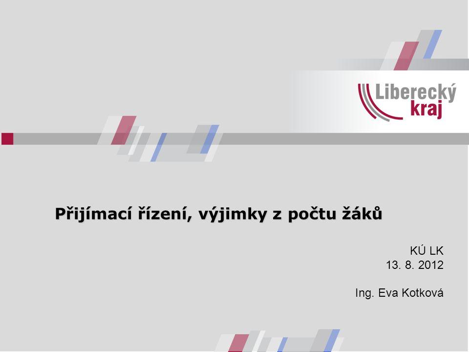 Přijímací řízení, výjimky z počtu žáků KÚ LK 13. 8. 2012 Ing. Eva Kotková