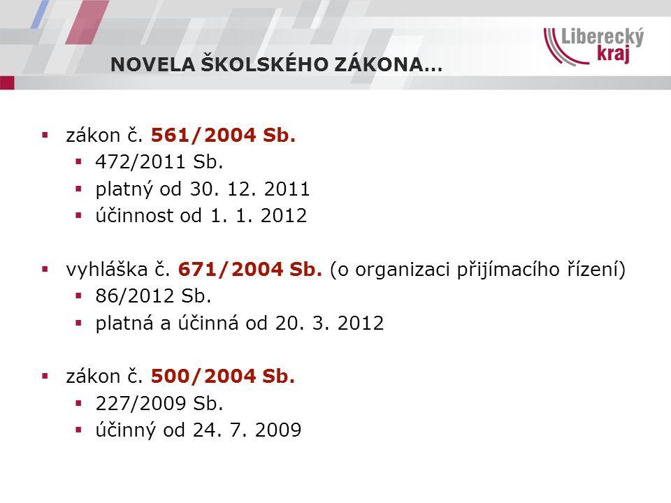 NOVELA ŠKOLSKÉHO ZÁKONA…  zákon č. 561/2004 Sb.  472/2011 Sb.