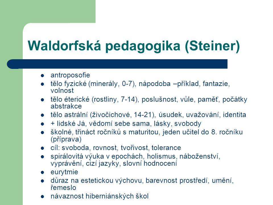 Waldorfská pedagogika (Steiner) antroposofie tělo fyzické (minerály, 0-7), nápodoba –příklad, fantazie, volnost tělo éterické (rostliny, 7-14), poslušnost, vůle, paměť, počátky abstrakce tělo astrální (živočichové, 14-21), úsudek, uvažování, identita + lidské Já, vědomí sebe sama, lásky, svobody školné, třináct ročníků s maturitou, jeden učitel do 8.