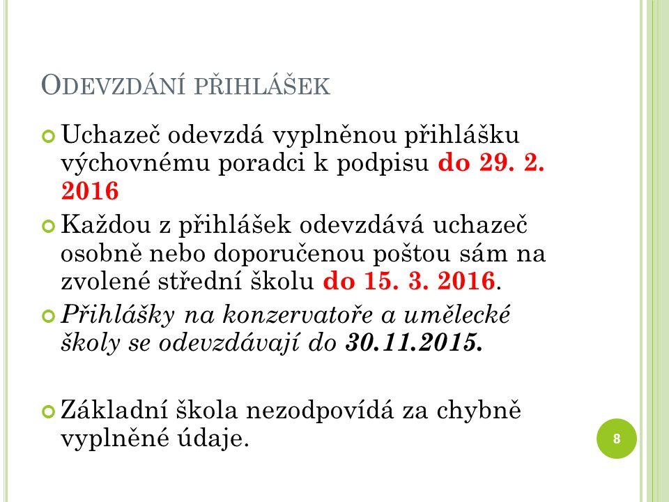 O DEVZDÁNÍ PŘIHLÁŠEK Uchazeč odevzdá vyplněnou přihlášku výchovnému poradci k podpisu do 29.