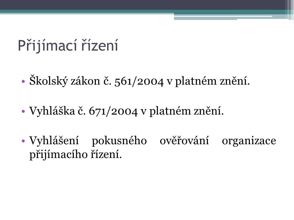 Přijímací řízení Školský zákon č.561/2004 v platném znění.