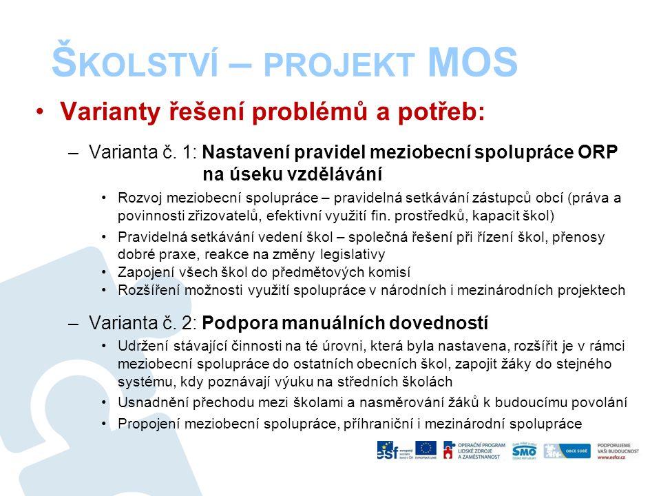 Š KOLSTVÍ – PROJEKT MOS Varianty řešení problémů a potřeb: –Varianta č. 1: Nastavení pravidel meziobecní spolupráce ORP na úseku vzdělávání Rozvoj mez