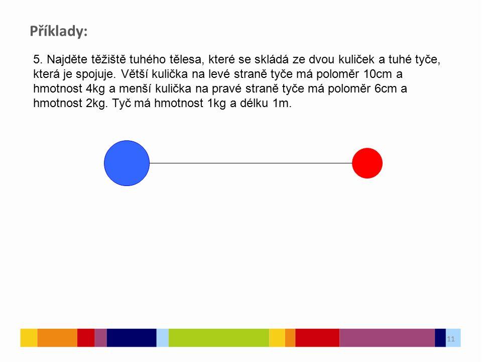 11 5. Najděte těžiště tuhého tělesa, které se skládá ze dvou kuliček a tuhé tyče, která je spojuje.