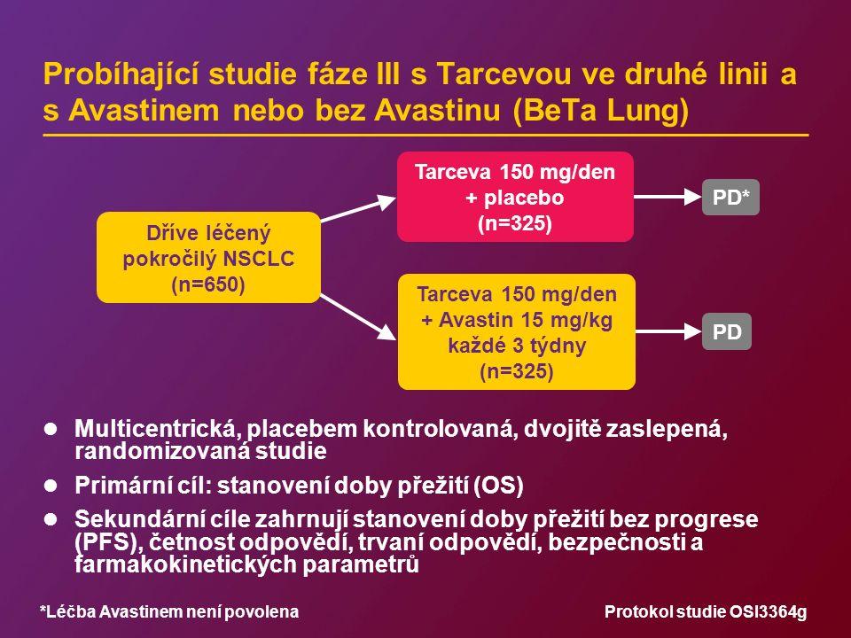 Probíhající studie fáze III s Tarcevou ve druhé linii a s Avastinem nebo bez Avastinu (BeTa Lung) Multicentrická, placebem kontrolovaná, dvojitě zasle