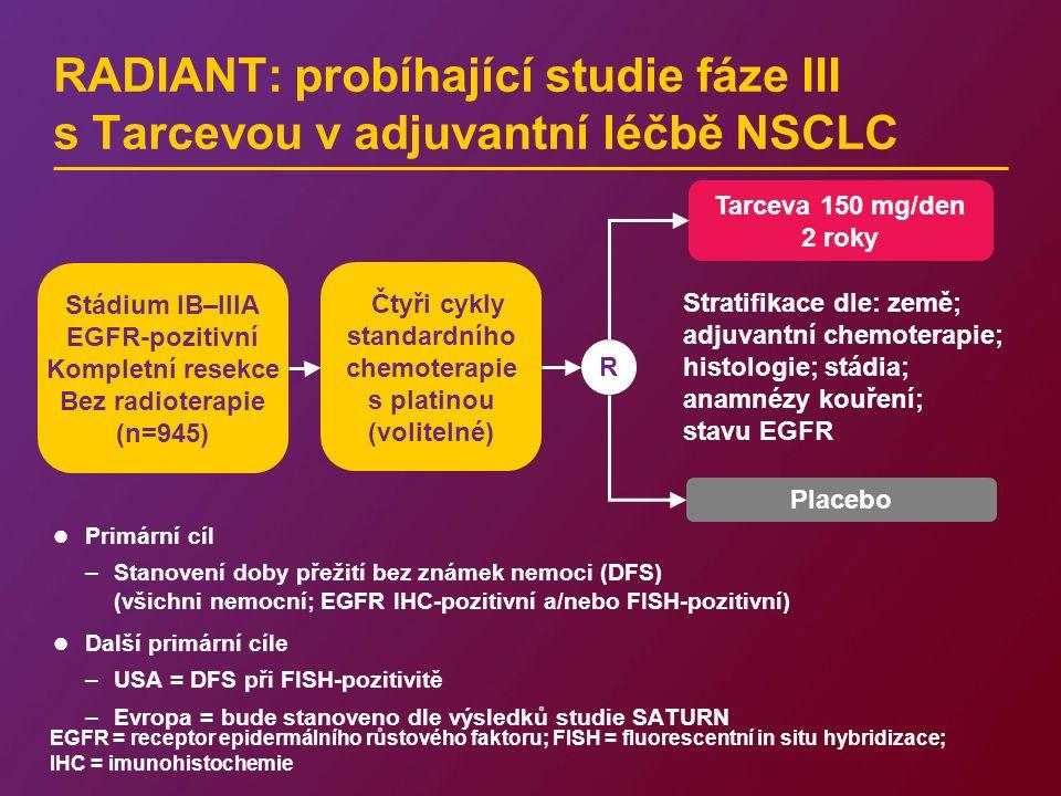 RADIANT: probíhající studie fáze III s Tarcevou v adjuvantní léčbě NSCLC Primární cíl –Stanovení doby přežití bez známek nemoci (DFS) (všichni nemocní
