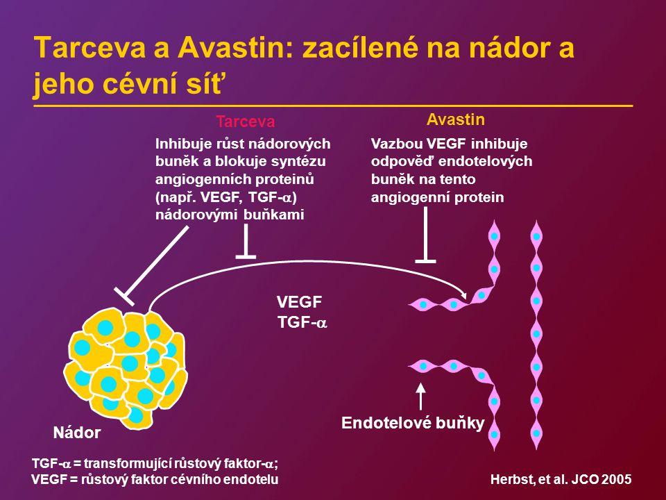 Tarceva a Avastin: zacílené na nádor a jeho cévní síť Nádor Tarceva Avastin Inhibuje růst nádorových buněk a blokuje syntézu angiogenních proteinů (na