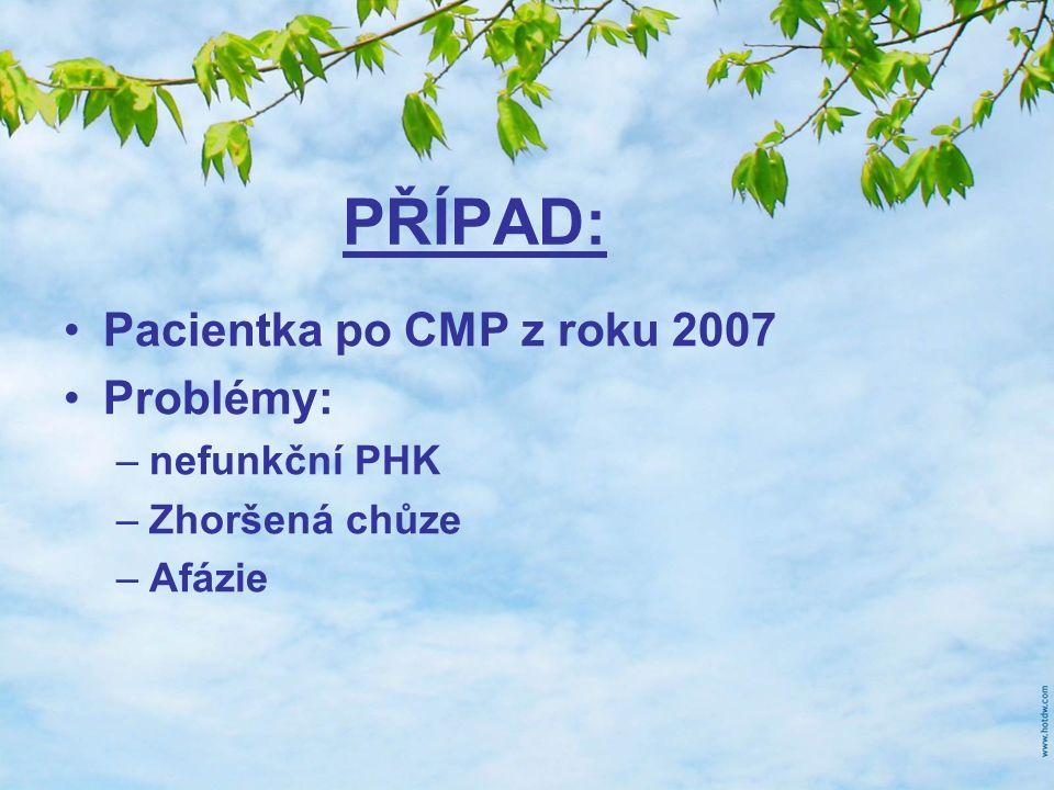 PŘÍPAD: Pacientka po CMP z roku 2007 Problémy: –nefunkční PHK –Zhoršená chůze –Afázie