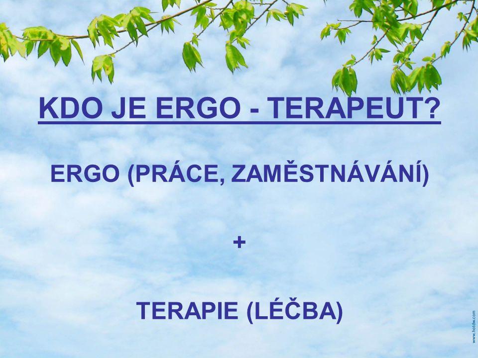 ERGO (PRÁCE, ZAMĚSTNÁVÁNÍ) + TERAPIE (LÉČBA) KDO JE ERGO - TERAPEUT