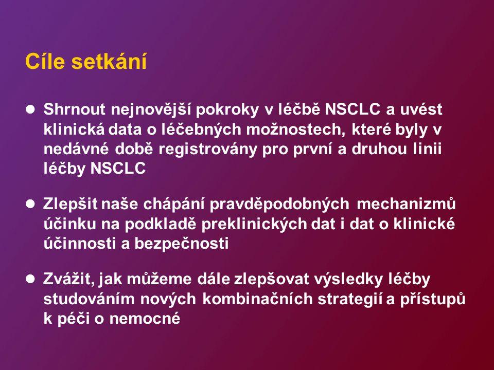 Cíle setkání Shrnout nejnovější pokroky v léčbě NSCLC a uvést klinická data o léčebných možnostech, které byly v nedávné době registrovány pro první a druhou linii léčby NSCLC Zlepšit naše chápání pravděpodobných mechanizmů účinku na podkladě preklinických dat i dat o klinické účinnosti a bezpečnosti Zvážit, jak můžeme dále zlepšovat výsledky léčby studováním nových kombinačních strategií a přístupů k péči o nemocné
