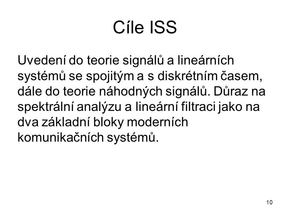 Cíle ISS Uvedení do teorie signálů a lineárních systémů se spojitým a s diskrétním časem, dále do teorie náhodných signálů. Důraz na spektrální analýz