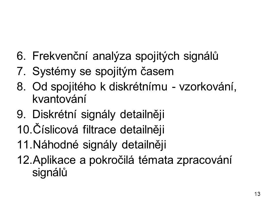 6.Frekvenční analýza spojitých signálů 7.Systémy se spojitým časem 8.Od spojitého k diskrétnímu - vzorkování, kvantování 9.Diskrétní signály detailněj