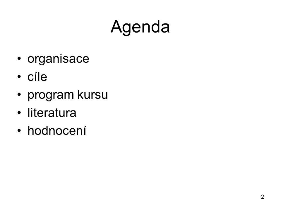 Agenda organisace cíle program kursu literatura hodnocení 2