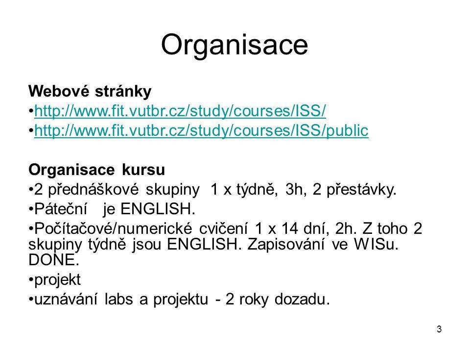 Organisace Webové stránky http://www.fit.vutbr.cz/study/courses/ISS/ http://www.fit.vutbr.cz/study/courses/ISS/public Organisace kursu 2 přednáškové skupiny 1 x týdně, 3h, 2 přestávky.