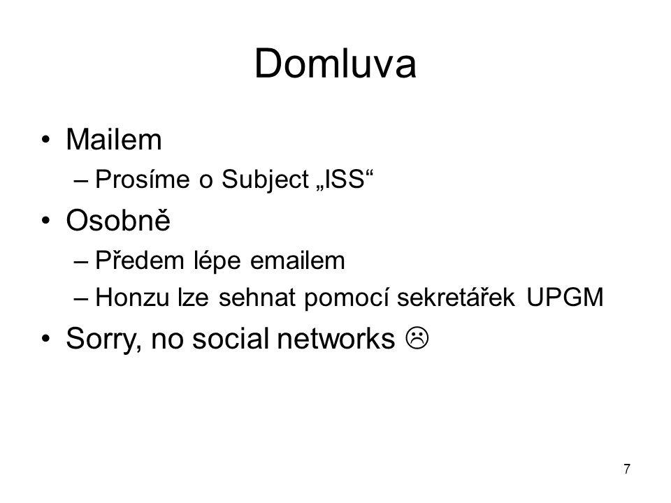 """Domluva Mailem –Prosíme o Subject """"ISS"""" Osobně –Předem lépe emailem –Honzu lze sehnat pomocí sekretářek UPGM Sorry, no social networks  7"""