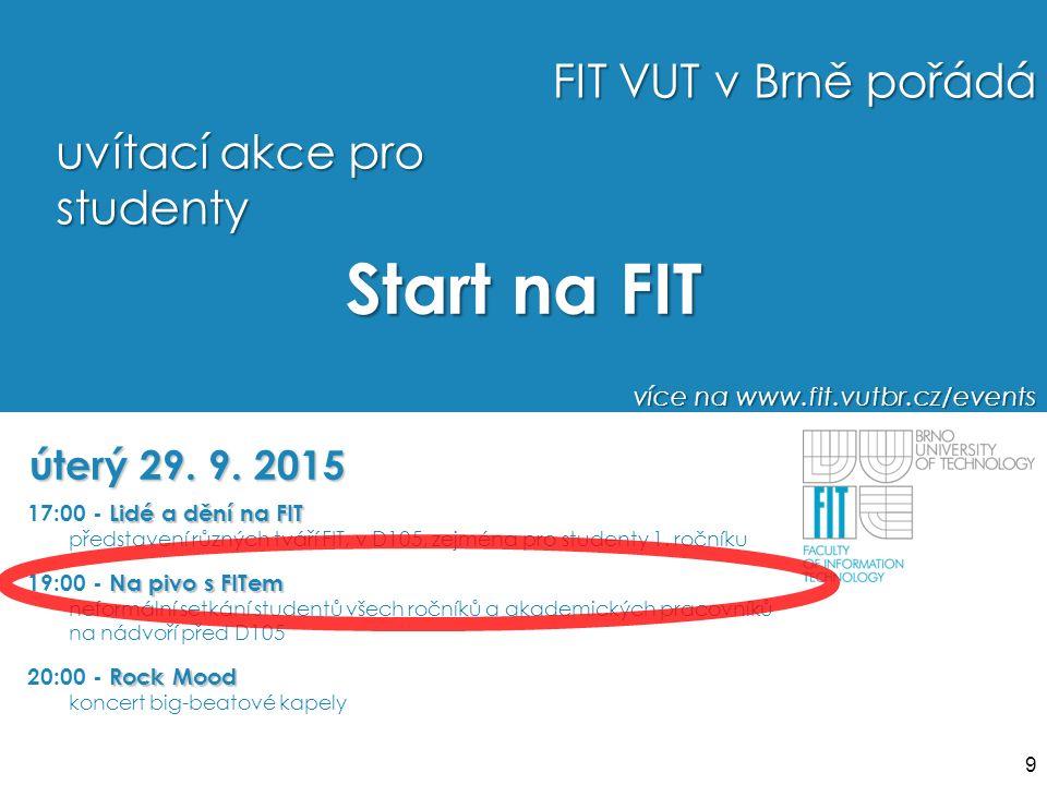 Start na FIT úterý 29. 9. 2015 FIT VUT v Brně pořádá uvítací akce pro studenty více na www.fit.vutbr.cz/events Lidé a dění na FIT 17:00 - Lidé a dění