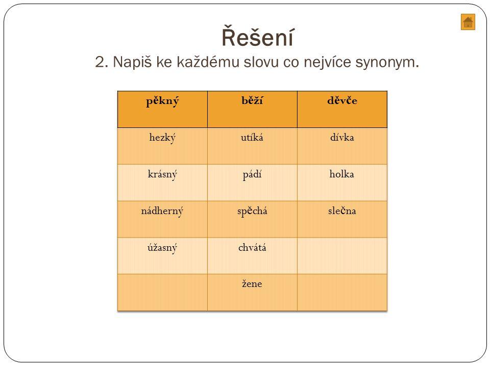Řešení 2. Napiš ke každému slovu co nejvíce synonym.