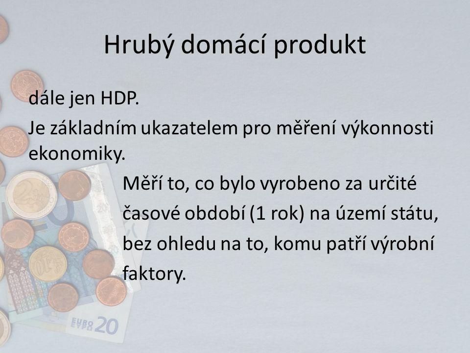 Hrubý domácí produkt dále jen HDP. Je základním ukazatelem pro měření výkonnosti ekonomiky.