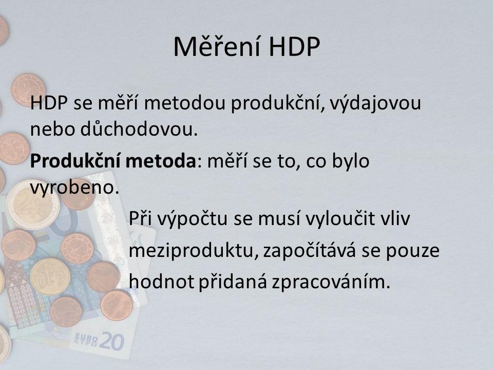 Měření HDP HDP se měří metodou produkční, výdajovou nebo důchodovou.