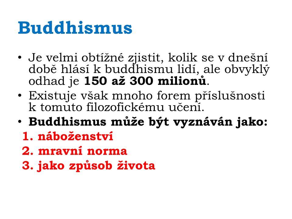 Buddhismus Je velmi obtížné zjistit, kolik se v dnešní době hlásí k buddhismu lidí, ale obvyklý odhad je 150 až 300 milionů. Existuje však mnoho forem