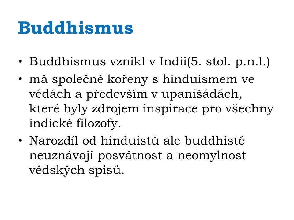Buddhismus Buddhismus vznikl v Indii(5. stol. p.n.l.) má společné kořeny s hinduismem ve védách a především v upanišádách, které byly zdrojem inspirac