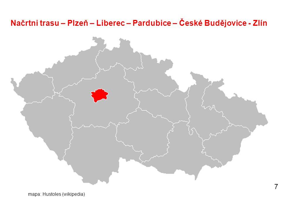 Načrtni trasu – Plzeň – Liberec – Pardubice – České Budějovice - Zlín 7 mapa: Hustoles (wikipedia)