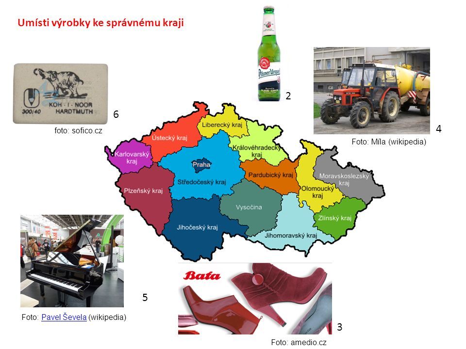 Umísti výrobky ke správnému kraji 3 2 4 5 6