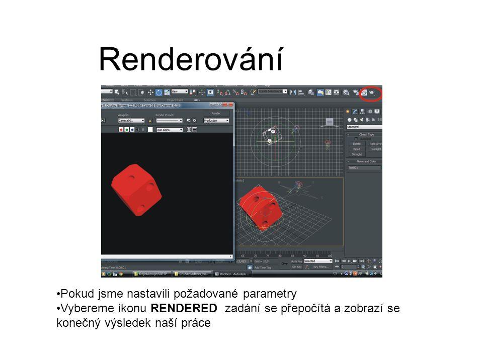 Renderování Pokud jsme nastavili požadované parametry Vybereme ikonu RENDERED zadání se přepočítá a zobrazí se konečný výsledek naší práce