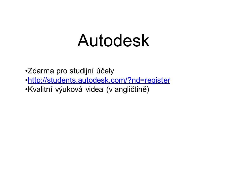 Autodesk Zdarma pro studijní účely http://students.autodesk.com/ nd=register Kvalitní výuková videa (v angličtině)