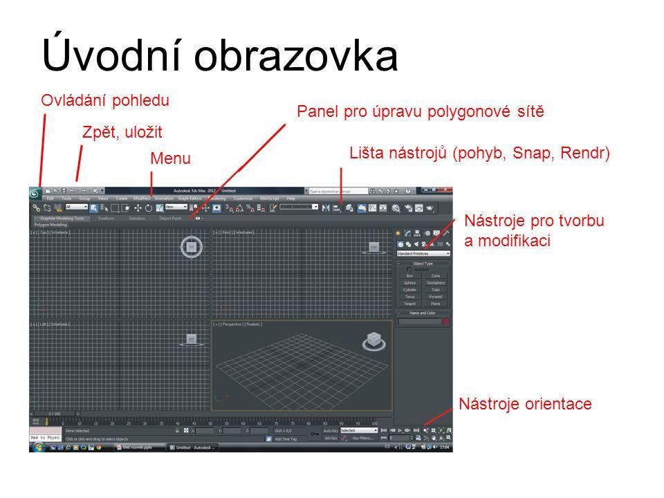 Panel pro úpravu polygonové sítě Lišta nástrojů (pohyb, Snap, Rendr) Nástroje pro tvorbu a modifikaci Nástroje orientace Ovládání pohledu Zpět, uložit Menu Úvodní obrazovka