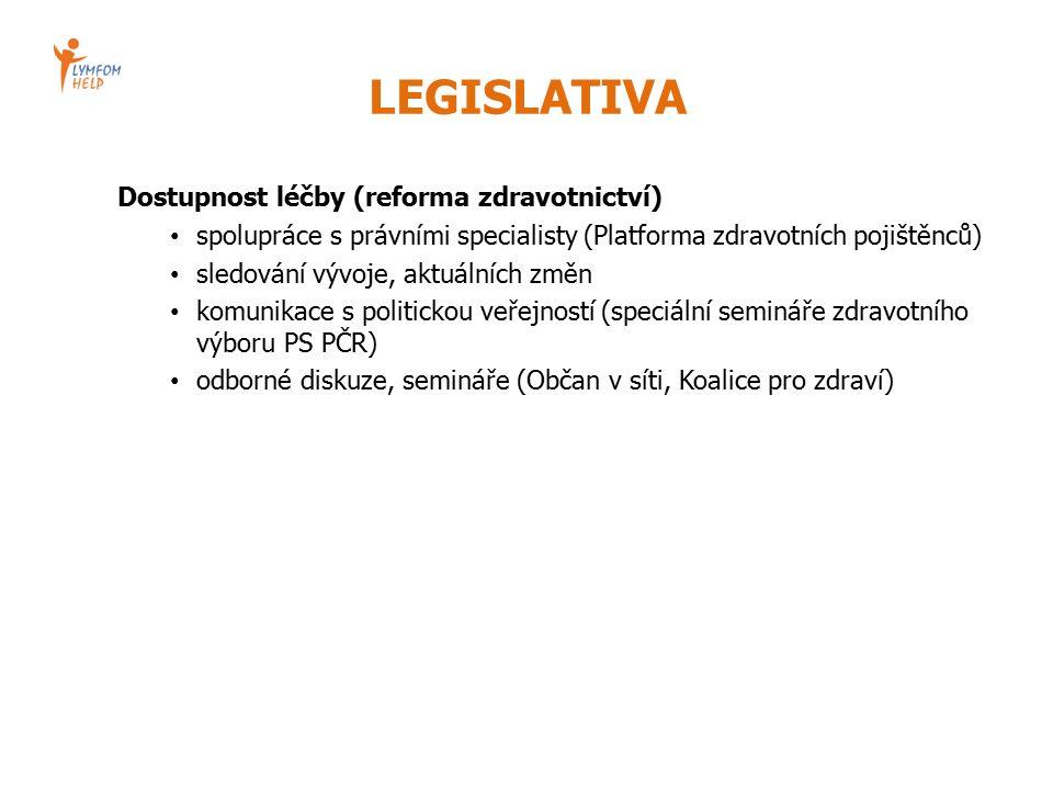 LEGISLATIVA Dostupnost léčby (reforma zdravotnictví) spolupráce s právními specialisty (Platforma zdravotních pojištěnců) sledování vývoje, aktuálních změn komunikace s politickou veřejností (speciální semináře zdravotního výboru PS PČR) odborné diskuze, semináře (Občan v síti, Koalice pro zdraví)