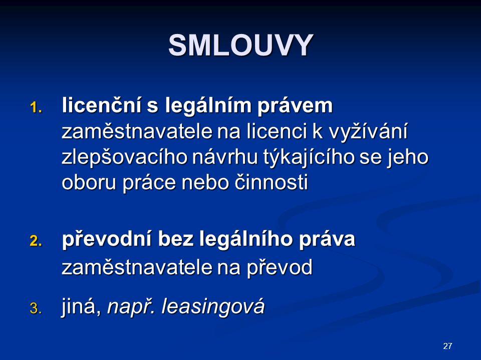 27 SMLOUVY 1. licenční s legálním právem zaměstnavatele na licenci k vyžívání zlepšovacího návrhu týkajícího se jeho oboru práce nebo činnosti 2. přev