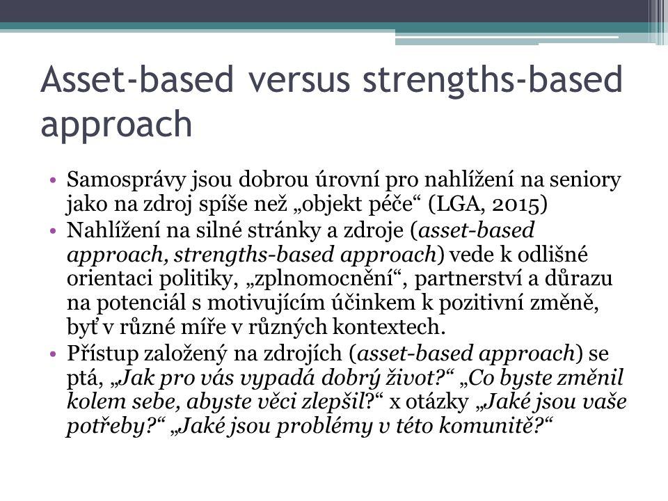 """Samosprávy jsou dobrou úrovní pro nahlížení na seniory jako na zdroj spíše než """"objekt péče (LGA, 2015) Nahlížení na silné stránky a zdroje (asset-based approach, strengths-based approach) vede k odlišné orientaci politiky, """"zplnomocnění , partnerství a důrazu na potenciál s motivujícím účinkem k pozitivní změně, byť v různé míře v různých kontextech."""