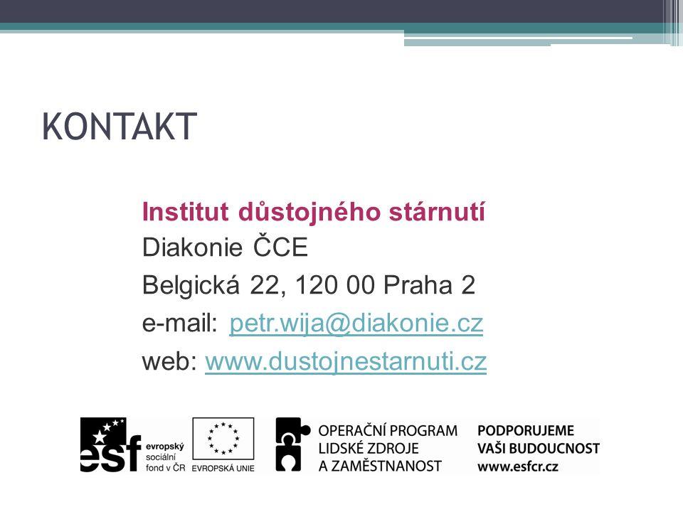 KONTAKT Institut důstojného stárnutí Diakonie ČCE Belgická 22, 120 00 Praha 2 e-mail: petr.wija@diakonie.czpetr.wija@diakonie.cz web: www.dustojnestarnuti.czwww.dustojnestarnuti.cz