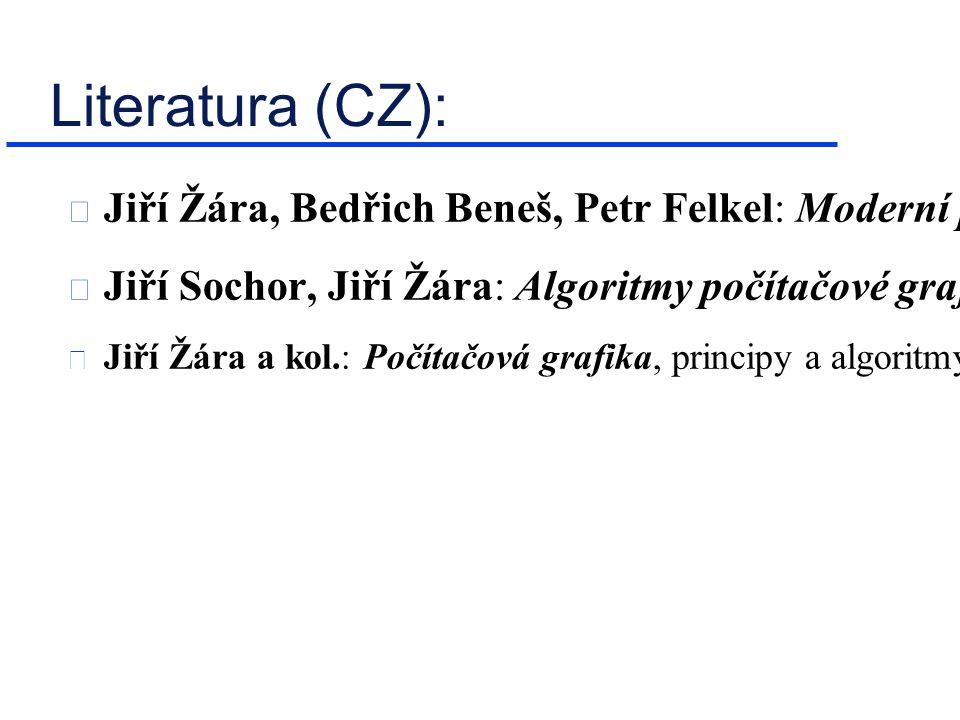 Literatura (CZ): Jiří Žára, Bedřich Beneš, Petr Felkel: Moderní počítačová grafika, Computer Press, Brno, 1998, ISBN: 80-7226-049-9 Jiří Sochor, Jiří Žára: Algoritmy počítačové grafiky, skriptum ČVUT FEL, Praha, 1992  Jiří Žára a kol.: Počítačová grafika, principy a algoritmy, GRADA, Praha, 1992