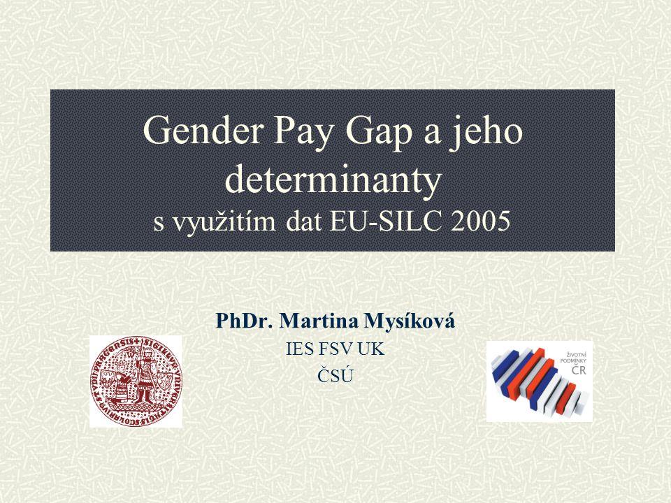 Genderové rozdíly Hlavní ukazatele genderové nerovnosti (2004) Míra zaměstnanosti EU-25: muži 70,9; ženy 55,7 ČR: muži 72,3; ženy 56,0 Míra participace EU-25: muži 77,5; ženy 62,0 ČR: muži 77,9; ženy 62,2 GPG EU-25: 15 ČR: 19